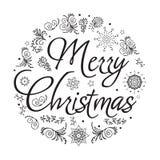 рождество веселое Нарисованная рукой иллюстрация вектора черная белизна Стоковое Фото