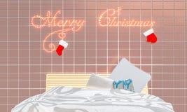 Рождество в комнате кровати Стоковое Изображение