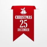 Рождество в 25-ое декабря Красная лента на серой предпосылке иллюстрация вектора