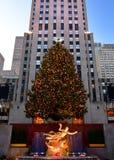 Рождество в рождественской елке центра Нью-Йорка - Рокефеллер Стоковые Изображения RF