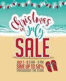 Рождество в шаблоне маркетинга продажи в июле иллюстрация вектора