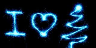 Рождество влюбленности бенгальского огня i Стоковое Фото