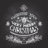 Рождество желает рук-литерность с мелом Стоковая Фотография RF