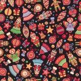Рождество забавляется безшовная предпосылка праздника картины Стоковое Изображение
