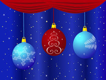 Рождество забавляется на голубой предпосылке с занавесами и звездами Стоковое фото RF