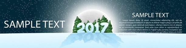 Рождество, знамя 2017, panoramma Иллюстрация вектора с элементами конструкции лунный свет Ноча звёздное небо Стоковое Фото