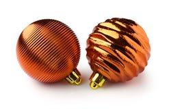 рождество золотистые 2 шариков Стоковое Фото
