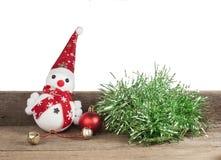 Рождество, игрушка снеговика на деревянном Стоковые Фотографии RF