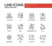 Рождество и Новый Год - простая линия установленные значки дизайна Стоковые Изображения