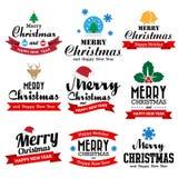 Рождество и счастливое собрание Нового Года каллиграфического и typo Стоковое Изображение RF