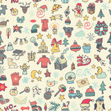 Рождество, картина значков Нового Года безшовная покрашено Стоковая Фотография