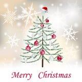 Рождество, карточки праздника Нового Года s причудливый вал Надпись с желаниями с Рождеством Христовым иллюстрации бесплатная иллюстрация