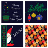 рождество карточки предпосылок делает по образцу безшовный комплект Стоковое Изображение