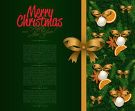 рождество карточки приветствуя счастливое веселое Новый Год Стоковое Изображение RF