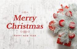 рождество карточки приветствуя счастливое веселое Новый Год Стоковое фото RF