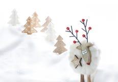 рождество карточки смешное орнаменты handbell рождества ветви коробки шарика Selfie северного оленя Космос для текста Стоковые Изображения