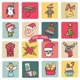 Рождество, комплект кнопки значков Нового Года покрашено иллюстрация штока