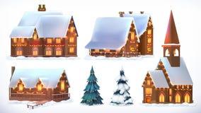 Рождество Коттеджи, загородные дома украшения рождества праздничные Новый Год Комплект значка вектора иллюстрация штока
