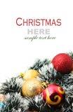 Рождество красное и godlen безделушки и елевое дерево Стоковые Изображения RF