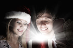 рождество кто-нибудь striped чулки удивляет tiptoe к xmas вала Стоковые Фотографии RF