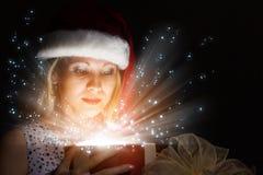 рождество кто-нибудь striped чулки удивляет tiptoe к xmas вала Стоковое фото RF