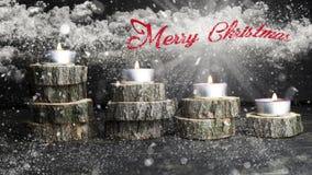 Рождество миражирует горение, украшение при деревянные журналы отдыхая o Стоковое Изображение RF