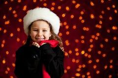 Рождество: Милая девушка праздника с большой улыбкой Стоковые Изображения RF