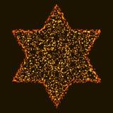 Рождество накаляя оранжевая и желтая красочная шестиугольная звезда иллюстрация штока