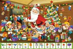 Рождество - настольная игра - Санта Клаус иллюстрация штока