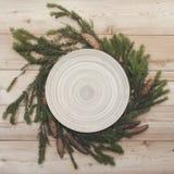 Рождество & x28; Новое Year& x29; предпосылка разветвляют конусы елевые Стоковые Изображения RF