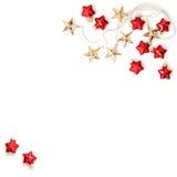 Рождество орнаментирует безделушек звезд украшений Ла золотых красных плоское Стоковое Изображение