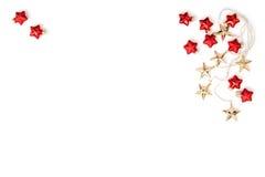 Рождество орнаментирует положение квартиры безделушек золотых звезд красное Стоковые Изображения