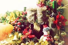 Рождество оформления бутылки вина стекел Стоковые Фото
