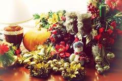Рождество оформления бутылки вина стекел Стоковое Изображение