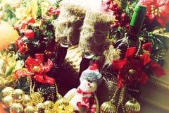 Рождество оформления бутылки вина стекел Стоковые Фотографии RF
