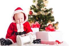 рождество предпосылки младенца изолированное над белизной Стоковые Фотографии RF