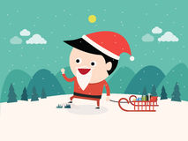 Рождество, Санта Клаус и подарки Стоковые Фото