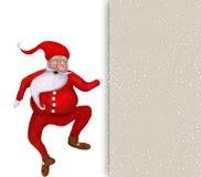 Рождество Санта Клаус танцев над пустой поздравительной открыткой Стоковые Изображения RF