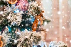 Рождество украсило дерево, время праздника Стоковые Изображения