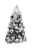 Рождество украсило дерево на белой предпосылке Стоковые Фотографии RF