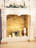 рождество украсило камин Стоковое Изображение