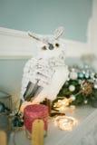 Рождество украсило комнату с сычом на камине Стоковая Фотография RF