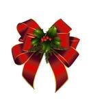 Рождество украсило красный смычок Стоковое Изображение RF