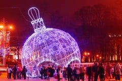 Рождество украсило света города зимы Стоковое фото RF