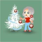 рождество украшает вал девушки иллюстрация штока