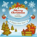 Рождество установило с подарочной коробкой, рождественскими елками и снежинками Стоковые Изображения