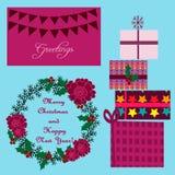 Рождество установленное в pantone marsala Стоковое Изображение RF