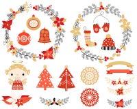 Рождество установленное с венками, ангел Иллюстрация вектора