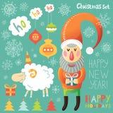 Рождество установленное с Санта Клаусом и овцами Иллюстрация вектора