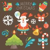 Рождество установленное с Сантой Иллюстрация вектора